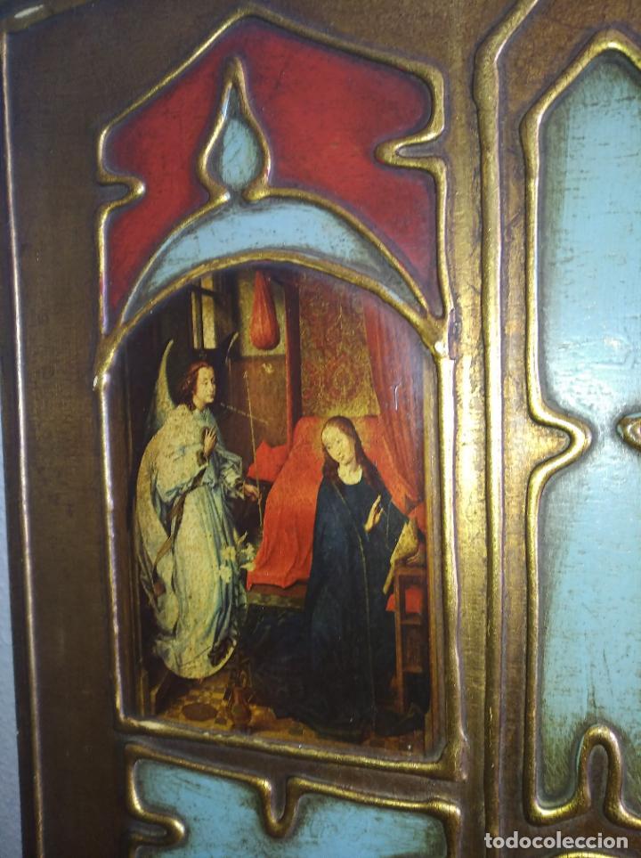 Arte: Antiguo Cuadro con imágenes motivos religiosos virgen Jesús señor vintage tríptico? - Foto 3 - 191115928