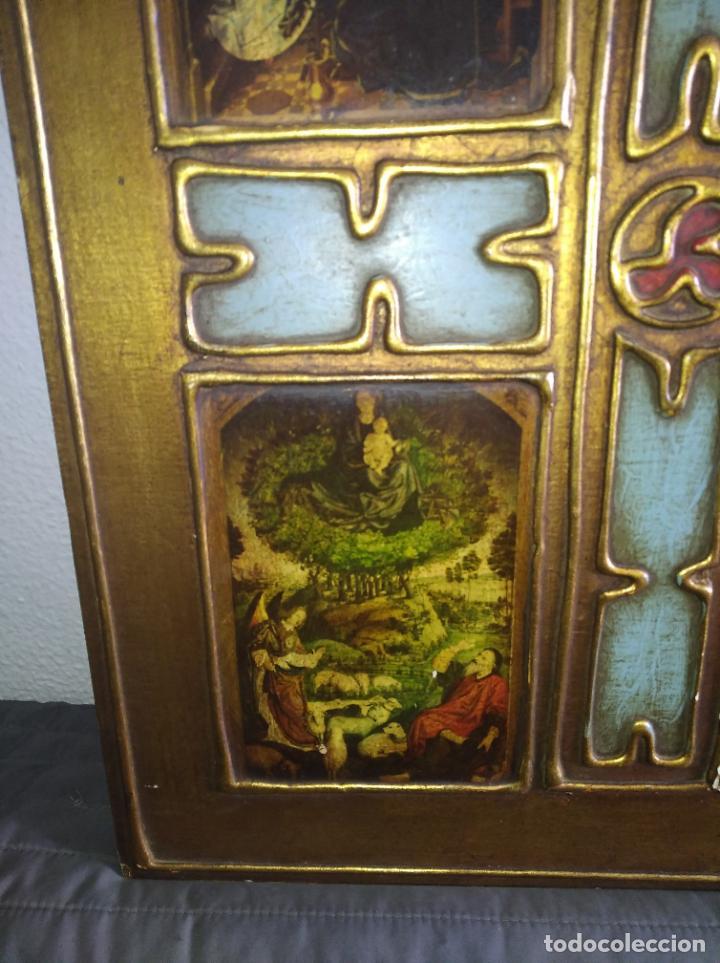 Arte: Antiguo Cuadro con imágenes motivos religiosos virgen Jesús señor vintage tríptico? - Foto 4 - 191115928
