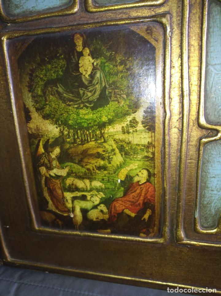 Arte: Antiguo Cuadro con imágenes motivos religiosos virgen Jesús señor vintage tríptico? - Foto 5 - 191115928
