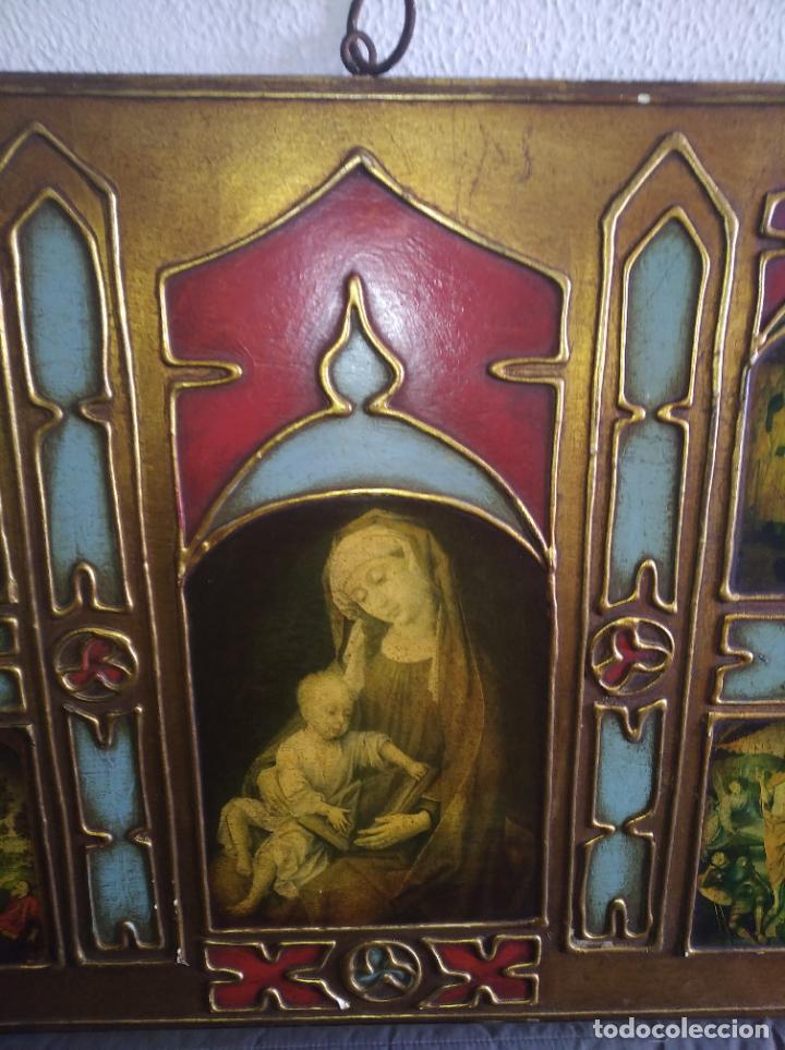 Arte: Antiguo Cuadro con imágenes motivos religiosos virgen Jesús señor vintage tríptico? - Foto 6 - 191115928