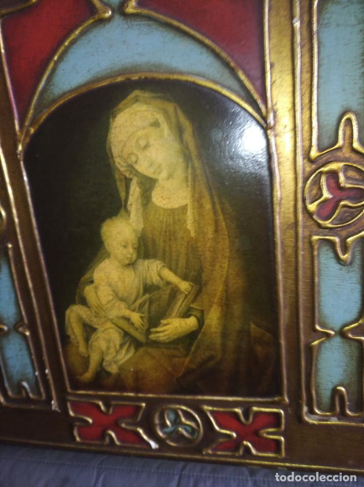 Arte: Antiguo Cuadro con imágenes motivos religiosos virgen Jesús señor vintage tríptico? - Foto 7 - 191115928