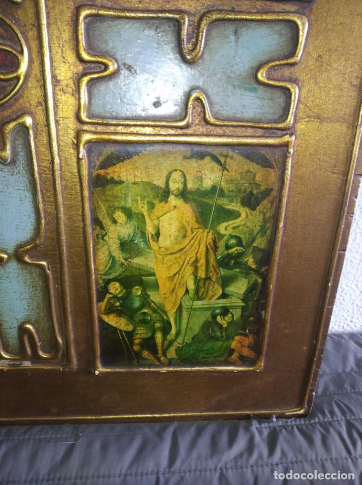 Arte: Antiguo Cuadro con imágenes motivos religiosos virgen Jesús señor vintage tríptico? - Foto 12 - 191115928