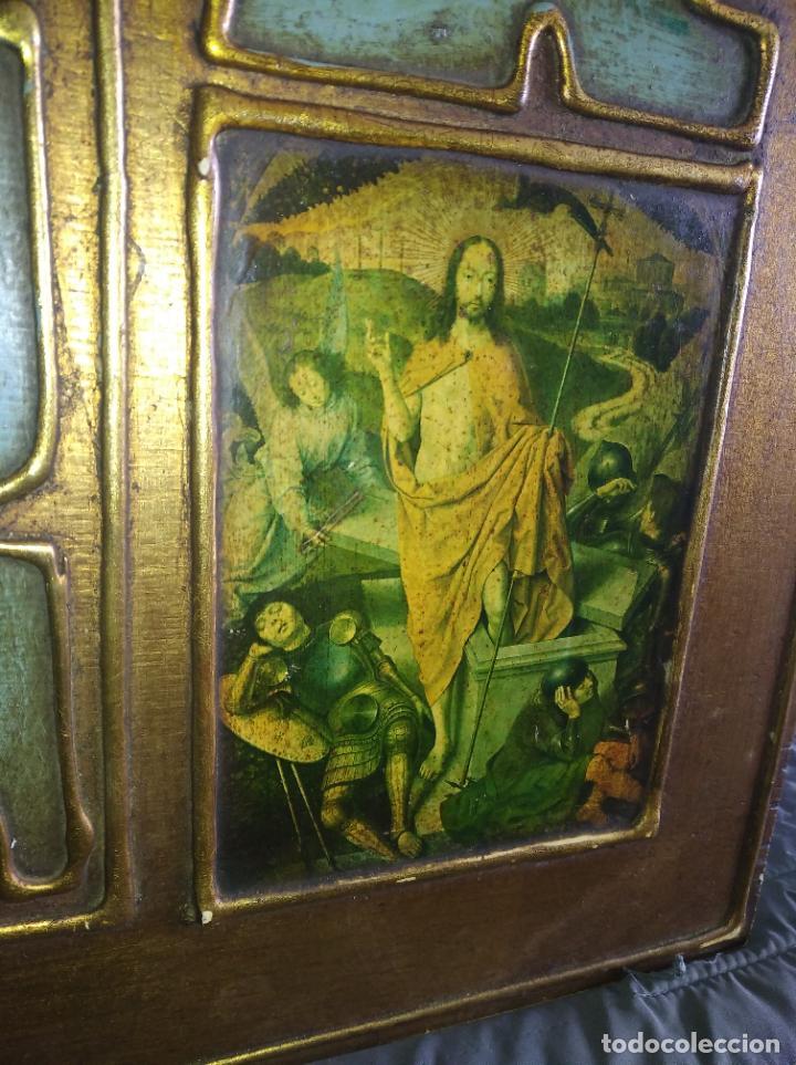 Arte: Antiguo Cuadro con imágenes motivos religiosos virgen Jesús señor vintage tríptico? - Foto 13 - 191115928