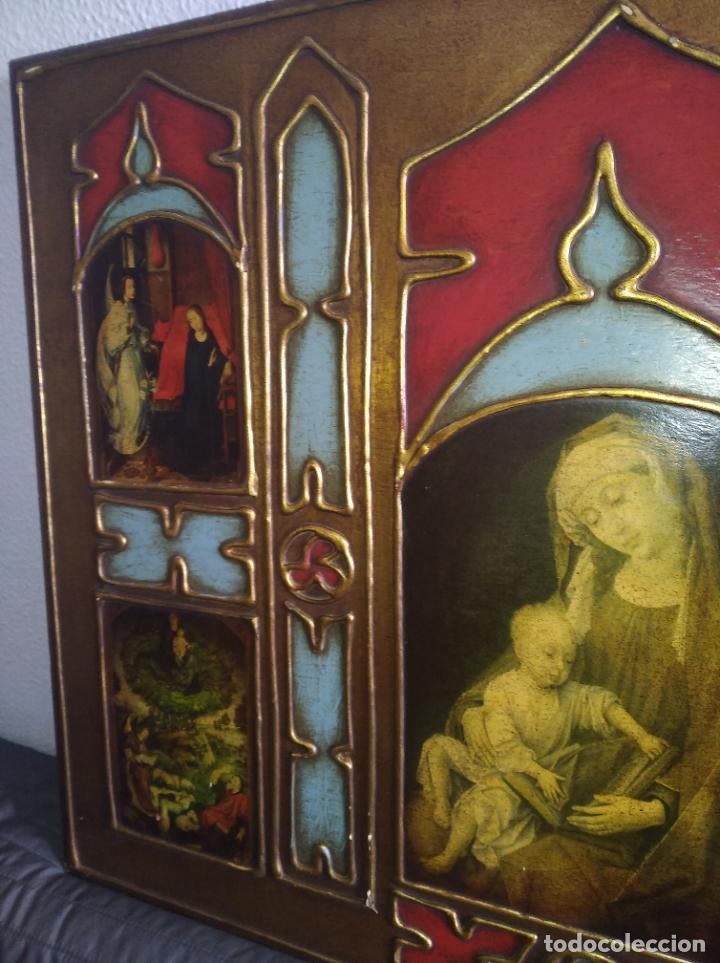 Arte: Antiguo Cuadro con imágenes motivos religiosos virgen Jesús señor vintage tríptico? - Foto 15 - 191115928