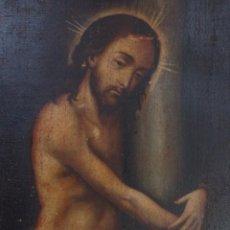 Arte: CRISTO DE LA COLUMNA. ESCUELA COLONIAL DEL SIGLO XVII. ÓLEO SOBRE LIENZO. MEDIDAS DE 103 X 75 CM.. Lote 191226212