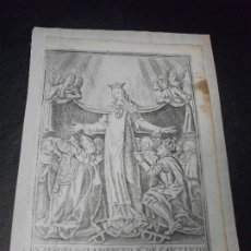 Arte: SIGLO XVIII GRABADO VIRGEN NUESTRA SEÑORA DE LA MERCED BARCELONA CATALUÑA RELIGION. Lote 191264961