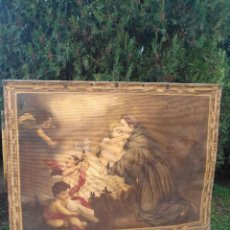 Arte: TAPIZ CON TEMA RELIGIOSO DE SANTO CON ANGELES. Lote 191271670