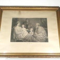 Arte: BELLÍSIMO GRABADO DE LA SAGRADA FAMILIA. JOS MATHAUSER PINX. K. VINOHRADY. STE FAMILLE. SIGLO XIX.. Lote 191298000