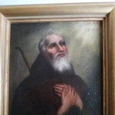 Arte: CUADRO OLEO LIENZO,FRANCISCO DE PAULA EN EMBLEMA CARITAS. S.XVIII. Lote 191321055