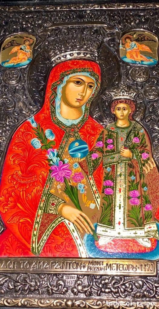Arte: ICONO BIZANTINO PINTADO - GRECIA - PLATA 950 - Foto 2 - 191415508