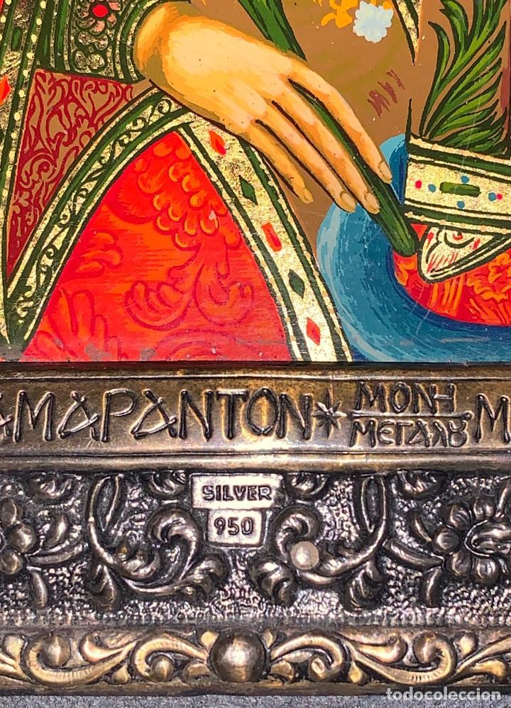 Arte: ICONO BIZANTINO PINTADO - GRECIA - PLATA 950 - Foto 3 - 191415508