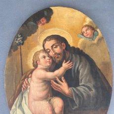 Arte: SAN JOSÉ Y EL NIÑO , ÓLEO SOBRE LIENZO ADHERIDO A TABLA . S. XIX . Lote 191444691