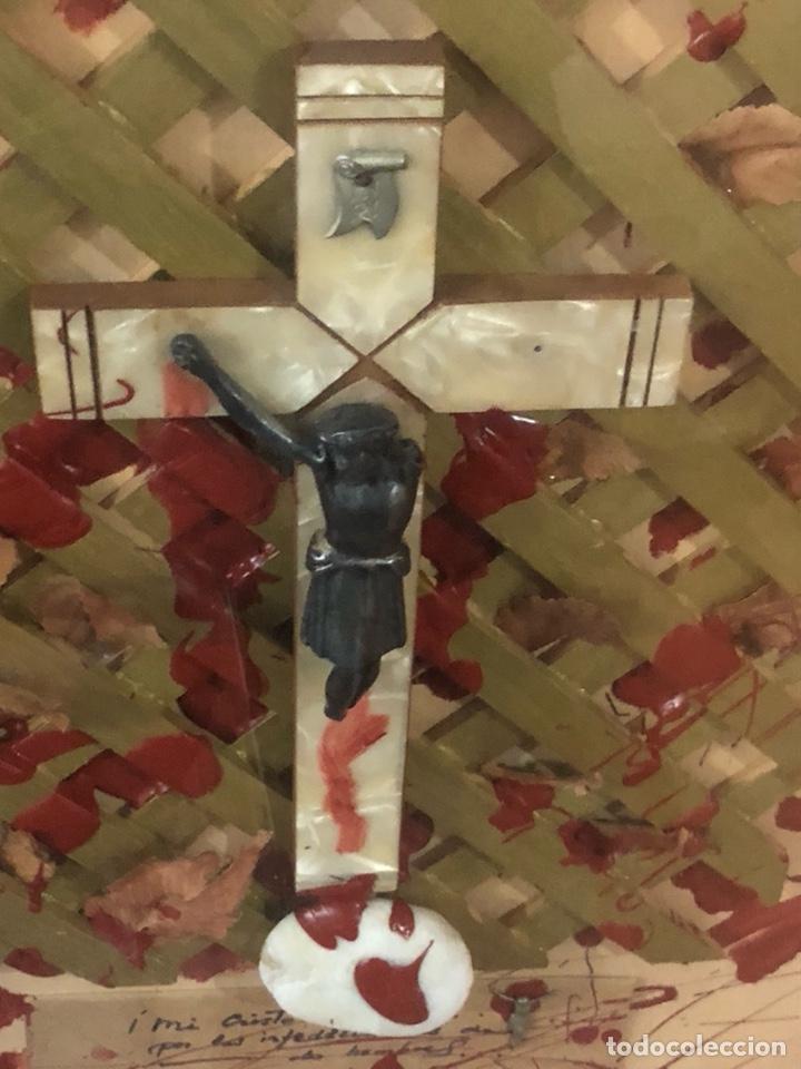 Arte: Bonita composición Cruz de nácar, desconozco más información, ver fotos - Foto 2 - 191463473