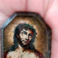 Arte: ECCE HOMO S.XVIII PINTADO BAJO CRISTAL BISELADO. Lote 191572873