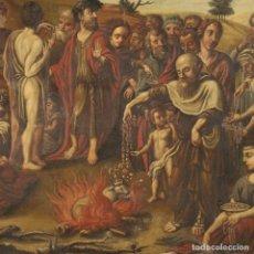 Arte: PINTURA ITALIANA ANTIGUA ADORACIÓN DEL BECERRO DE ORO DEL SIGLO XVIII. Lote 191600322