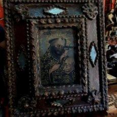 Arte: OLEO SAN FRANCISCO DE ASIS Y MARCO MADERA CON ESPEJITOS . Lote 191661676