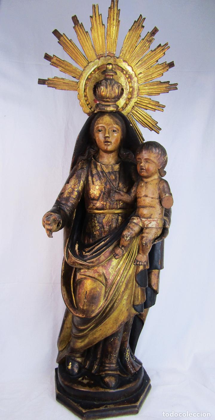 VIRGEN CON NIÑO TALLA EN MADERA POLICROMADA SIGLO XVIII (Arte - Arte Religioso - Escultura)