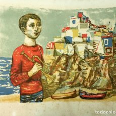 Arte: LITOGRAFIA MIQUEL IBARTZ ROCA - NIÑO CON TROMPETA EN LA PLAYA - NUMERADA 7/14 - 55 X 44 CM. Lote 191704226