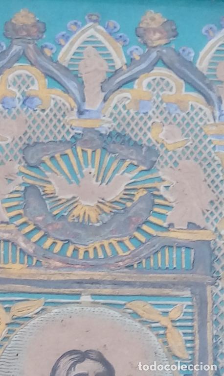 Arte: ACUARELA SOBRE PAPEL RECORTADO, SIGLO XIX. CON IMAGENES -LE CHEMIN DE LA CROIX-. DIM.- 19.5X14.5 CMS - Foto 4 - 191744027