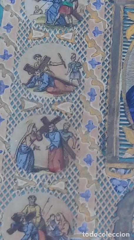 Arte: ACUARELA SOBRE PAPEL RECORTADO, SIGLO XIX. CON IMAGENES -LE CHEMIN DE LA CROIX-. DIM.- 19.5X14.5 CMS - Foto 7 - 191744027