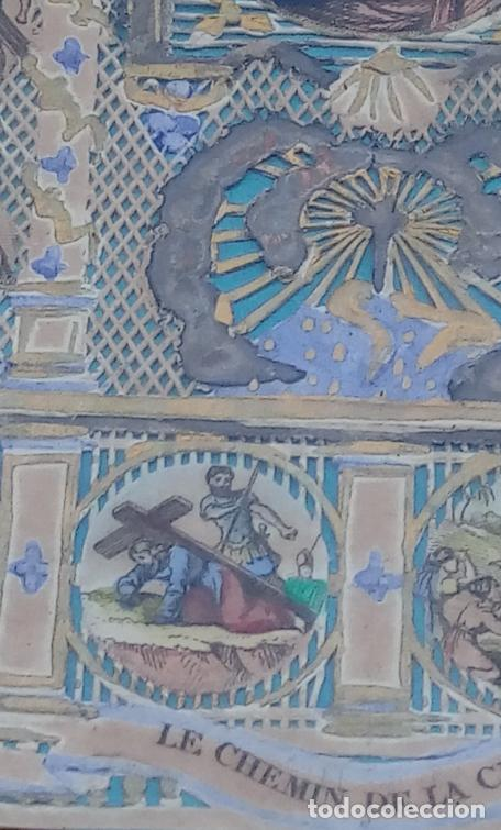 Arte: ACUARELA SOBRE PAPEL RECORTADO, SIGLO XIX. CON IMAGENES -LE CHEMIN DE LA CROIX-. DIM.- 19.5X14.5 CMS - Foto 9 - 191744027