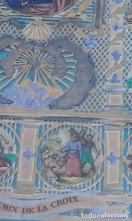 Arte: ACUARELA SOBRE PAPEL RECORTADO, SIGLO XIX. CON IMAGENES -LE CHEMIN DE LA CROIX-. DIM.- 19.5X14.5 CMS - Foto 10 - 191744027