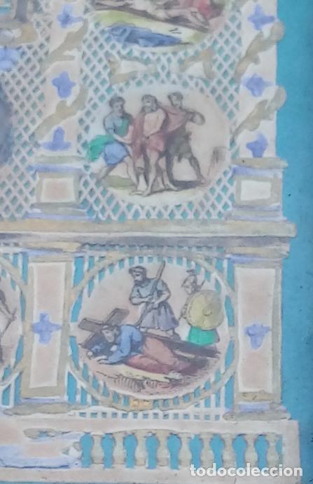 Arte: ACUARELA SOBRE PAPEL RECORTADO, SIGLO XIX. CON IMAGENES -LE CHEMIN DE LA CROIX-. DIM.- 19.5X14.5 CMS - Foto 11 - 191744027