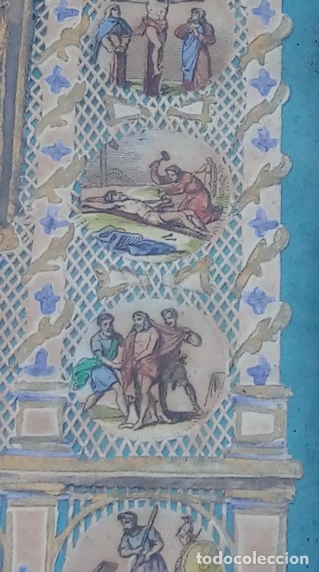 Arte: ACUARELA SOBRE PAPEL RECORTADO, SIGLO XIX. CON IMAGENES -LE CHEMIN DE LA CROIX-. DIM.- 19.5X14.5 CMS - Foto 12 - 191744027
