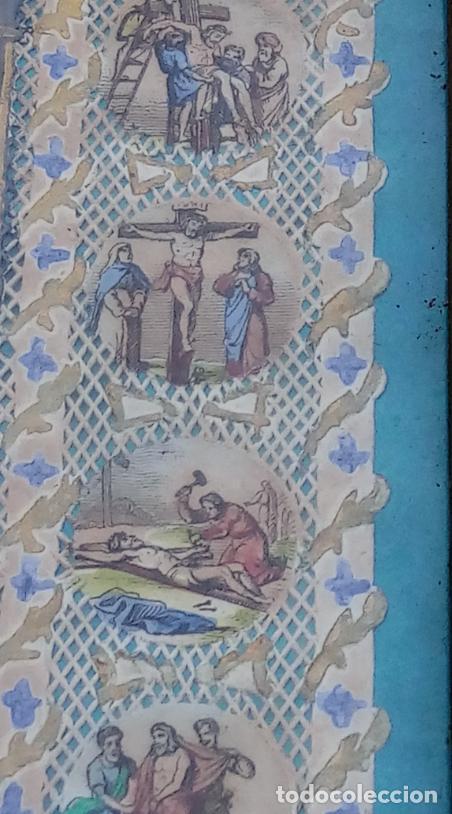 Arte: ACUARELA SOBRE PAPEL RECORTADO, SIGLO XIX. CON IMAGENES -LE CHEMIN DE LA CROIX-. DIM.- 19.5X14.5 CMS - Foto 13 - 191744027