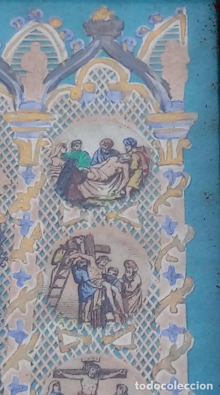 Arte: ACUARELA SOBRE PAPEL RECORTADO, SIGLO XIX. CON IMAGENES -LE CHEMIN DE LA CROIX-. DIM.- 19.5X14.5 CMS - Foto 14 - 191744027