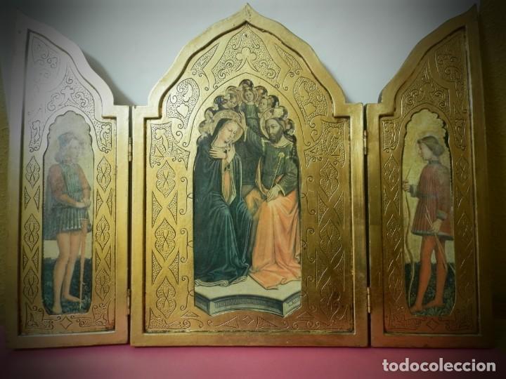TRIPTICO ANTIGUO DE MADERA 45 X 60 PRECIOSO (Arte - Arte Religioso - Trípticos)