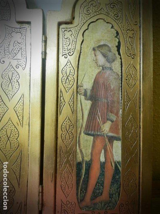 Arte: TRIPTICO ANTIGUO DE MADERA 45 X 60 PRECIOSO - Foto 4 - 191778670