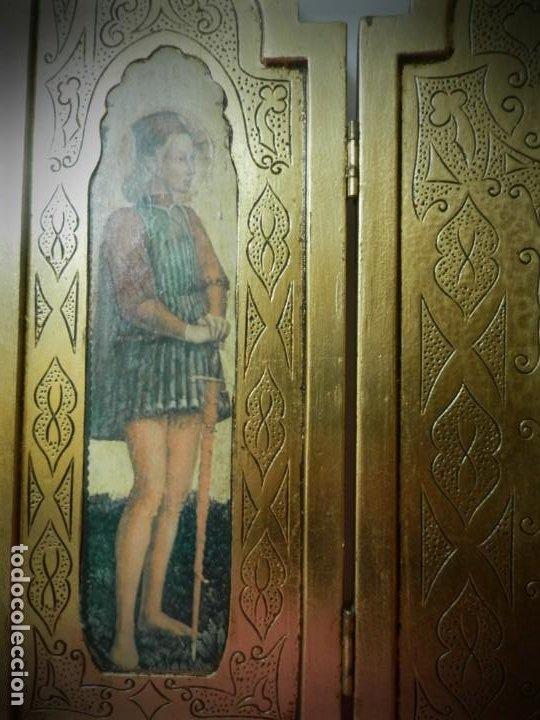 Arte: TRIPTICO ANTIGUO DE MADERA 45 X 60 PRECIOSO - Foto 5 - 191778670