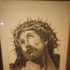 Arte: ANTIGUO CARBONCILLO IMAGEN DE JESUS CRISTO CON CORONA DE ESPINOS,FIRMADO Y DATADO 1932. Lote 191830210