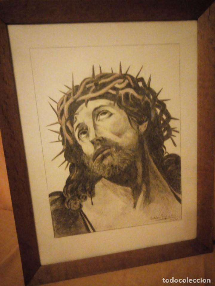 Arte: Antiguo carboncillo imagen de jesus cristo con corona de espinos,firmado y datado 1932 - Foto 2 - 191830210