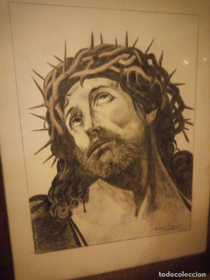 Arte: Antiguo carboncillo imagen de jesus cristo con corona de espinos,firmado y datado 1932 - Foto 3 - 191830210
