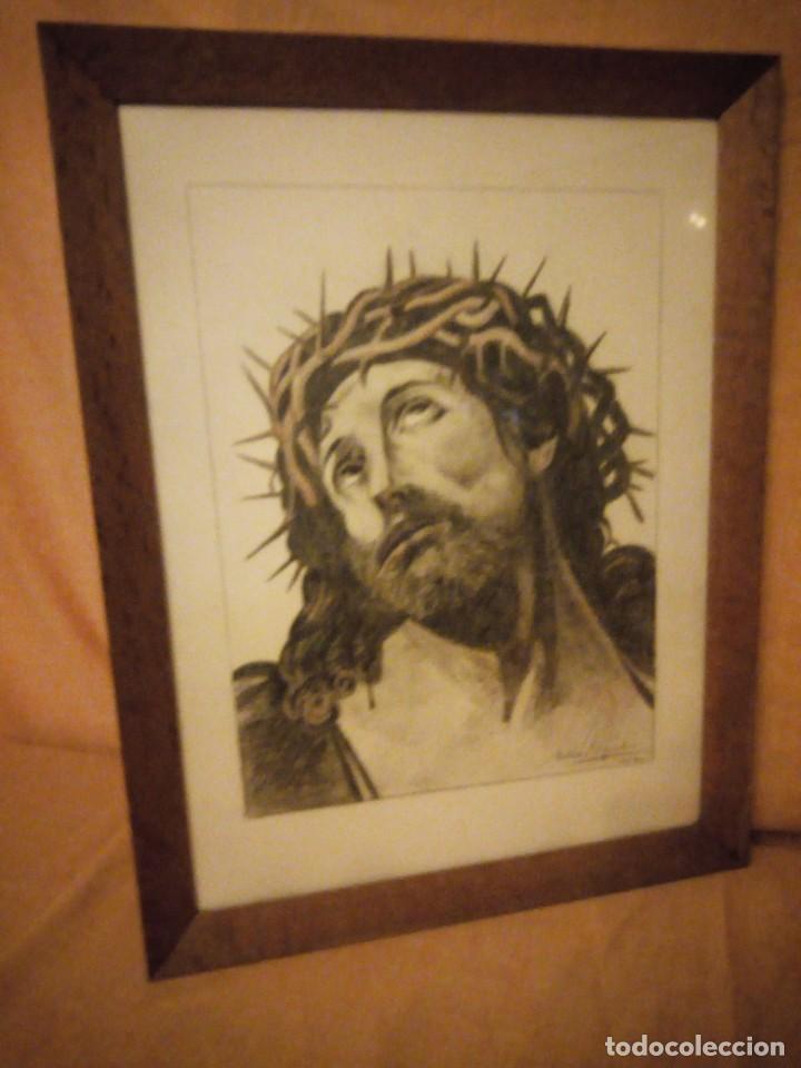 Arte: Antiguo carboncillo imagen de jesus cristo con corona de espinos,firmado y datado 1932 - Foto 4 - 191830210