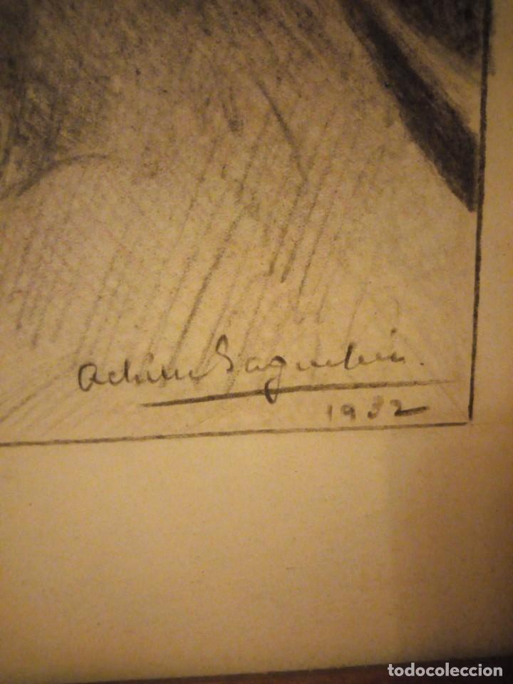 Arte: Antiguo carboncillo imagen de jesus cristo con corona de espinos,firmado y datado 1932 - Foto 5 - 191830210