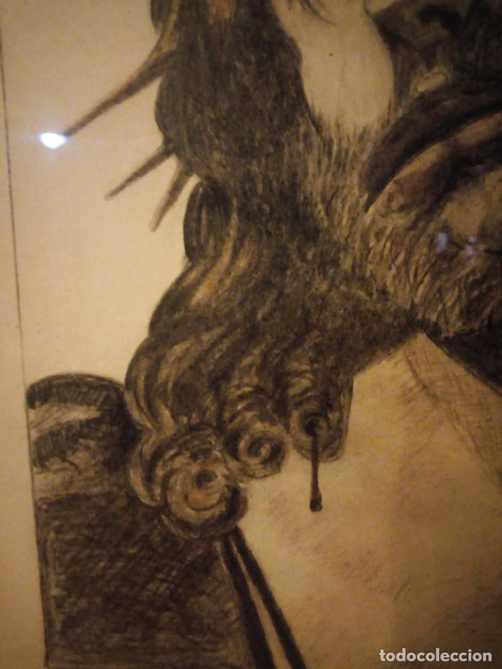 Arte: Antiguo carboncillo imagen de jesus cristo con corona de espinos,firmado y datado 1932 - Foto 6 - 191830210
