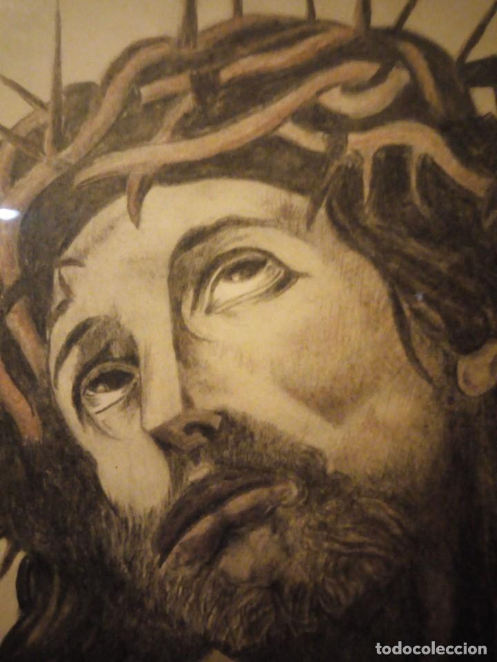 Arte: Antiguo carboncillo imagen de jesus cristo con corona de espinos,firmado y datado 1932 - Foto 7 - 191830210