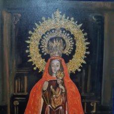 Arte: PINTURA RELIGIOSA DE NUESTRA SEÑORA LA SOTERRAÑA UTILIZANDO LA TÉCNICA ÓLEO SOBRE MADERA CON FIRMA. Lote 192054007