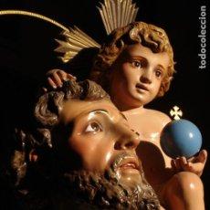 Arte: SAN CRISTÓBAL PORTANDO AL NIÑO JESUS PASTA DE MADERA GRANDES MEDIDAS. Lote 192217773