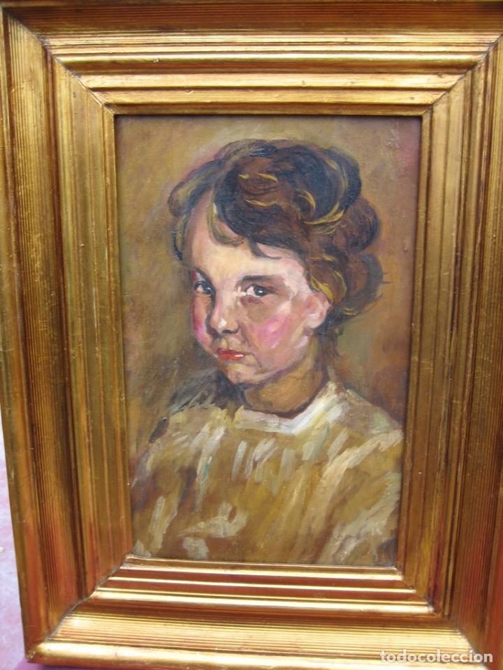 Arte: Antiguo óleo en tabla de niño - Foto 2 - 192283147
