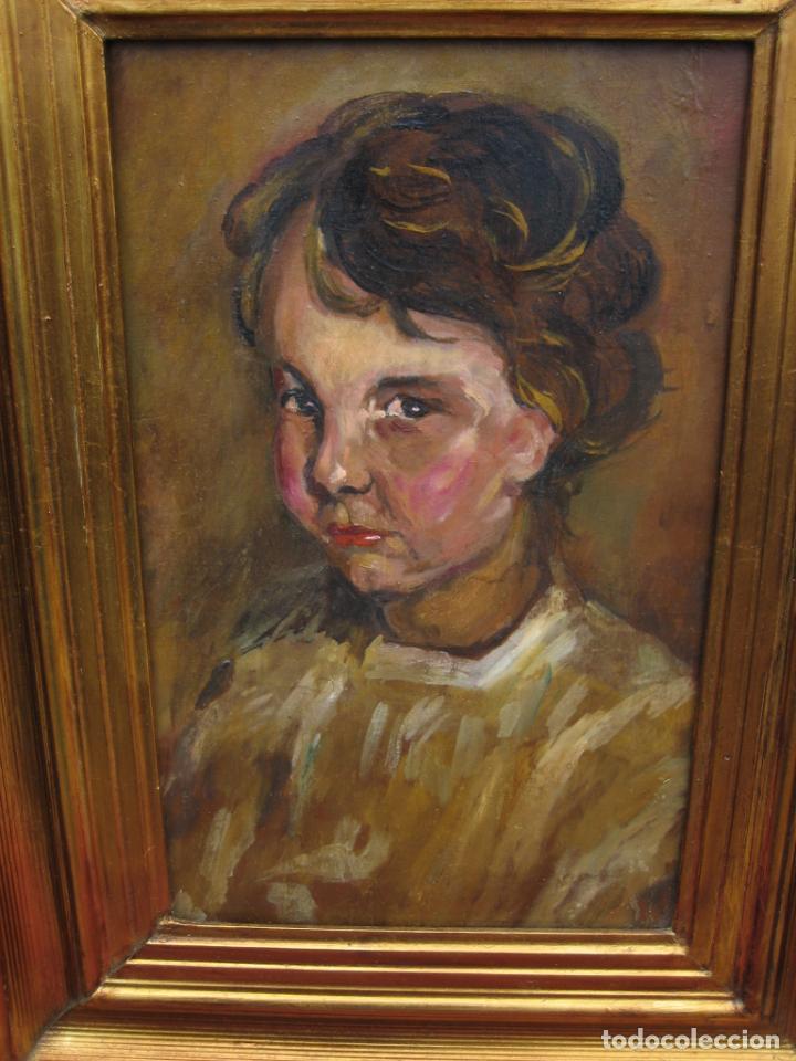 Arte: Antiguo óleo en tabla de niño - Foto 3 - 192283147