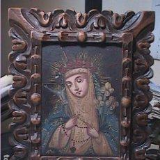 Arte: EXCELENTE OLEO SOBRE TELA DE SANTA ROSA CON MARCO EN MADERA TALLADA.. Lote 192283290