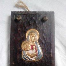 Arte: VIRGEN CON NIÑO JESÚS. METAL GRABADO Y MADERA. OBRA ORIGINAL DE FRANCESC GASSÓ. Lote 184742446