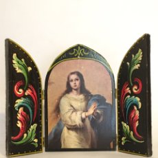 Arte: TRÍPTICO RELIGIOSO ANTIGUO - VIRGEN PURÍSIMA - PRINCIPIOS DEL SIGLO XX. Lote 192779250