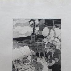 Arte: GRABADO AL AGUAFUERTE DE LA PLAZA MAYOR DE MADRID.. Lote 192804342