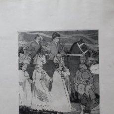 Arte: GRABADO AL AGUAFUERTE DE LAS MÓNDIDAS CON SUS CESTAÑOS. LA DESCUBIERTA. BRASAS. SAN PEDRO MANRIQUE. Lote 192806050