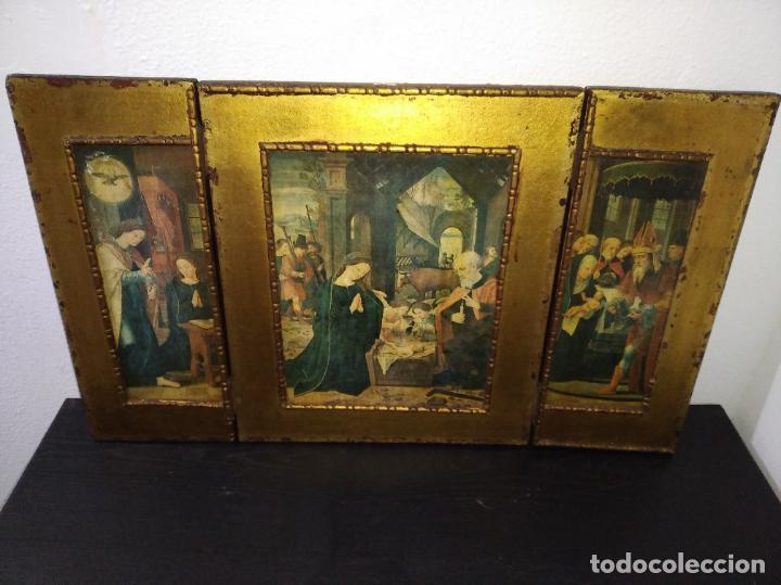 Arte: Antiguo Tríptico madera cuadro religioso virgen niño Jesús - Foto 2 - 192953831